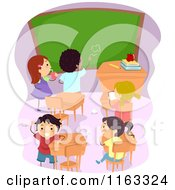 Cartoon Of Diverse Children Making A Mess In A Class Room Royalty Free Vector Clipart