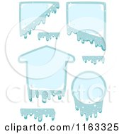 Cartoon Of Frozen Design Elements And Frames Royalty Free Vector Clipart