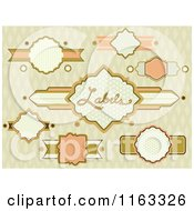 Cartoon Of Vintage Labels Over A Diamond Pattern Royalty Free Vector Clipart