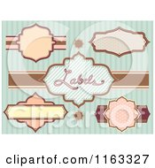 Cartoon Of Vintage Labels Over Stripes Royalty Free Vector Clipart by BNP Design Studio