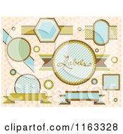 Cartoon Of Vintage Labels Over Polka Dots Royalty Free Vector Clipart