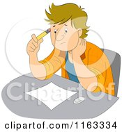 Cartoon Of A Male Artist With Art Block Royalty Free Vector Clipart