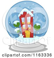Cartoon Of A Snowman And Winter House In A Snow Globe Royalty Free Vector Clipart
