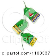 Cartoon Of Green Christmas Tags On A String Royalty Free Vector Clipart by BNP Design Studio