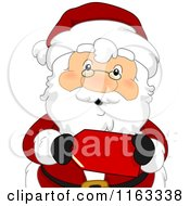 Cartoon Of Santa Holding A Red Sales Tag Royalty Free Vector Clipart by BNP Design Studio