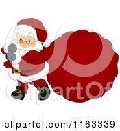 Cartoon Of Santa Carrying A Large Sack With Copyspace Royalty Free Vector Clipart by BNP Design Studio