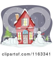 Cartoon Of A Red Christmas House With A Snowman Royalty Free Vector Clipart by BNP Design Studio