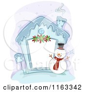 Cartoon Of A Frozen Christmas House Frame With A Snowman Royalty Free Vector Clipart