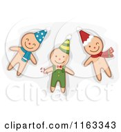 Cartoon Of Happy Ginger Bread Men Cookies Wearing Hats Royalty Free Vector Clipart by BNP Design Studio