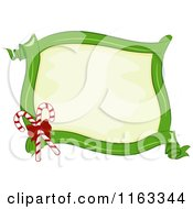 Cartoon Of A Green Ribbon Christmas Frame With Candy Canes And Copyspace Royalty Free Vector Clipart