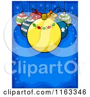 Cartoon Of A Christmas Background Of Baubles Suspended Over Blue Copyspace Royalty Free Vector Clipart by BNP Design Studio