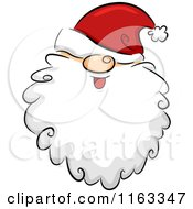 Cartoon Of A Happy Bearded Santa Face With His Hat Over His Eyes Royalty Free Vector Clipart by BNP Design Studio