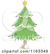 Cartoon Of A Green Christmas Tree With A Star On Top Royalty Free Vector Clipart