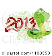 Cartoon Of A Green Snake With Oriental Swirls And Year 2013 Royalty Free Vector Clipart