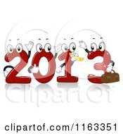 Cartoon Of Red 2013 Numbers Waving And Blowing A Noise Maker Royalty Free Vector Clipart