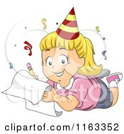 Cartoon Of A Happy Blond Girl Wearing A Party Hat And Writing Down His New Year Resolutions Royalty Free Vector Clipart