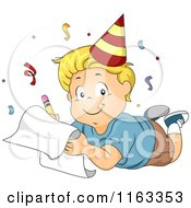 Cartoon Of A Happy Blond Boy Wearing A Party Hat And Writing Down His New Year Resolutions Royalty Free Vector Clipart