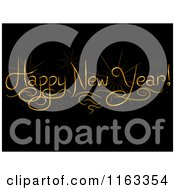 Cartoon Of A Golden Happy New Year Greeting On Black Royalty Free Vector Clipart