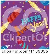Cartoon Of A Seamless Happy New Year Confetti And Rocket Firework Background Royalty Free Vector Clipart