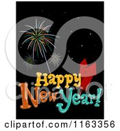 Cartoon Of A Happy New Year Greeting With Fireworks On Black Royalty Free Vector Clipart