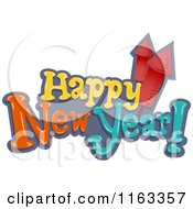Cartoon Of Happy New Year Text With Rocket Fireworks Royalty Free Vector Clipart