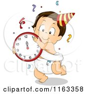 Cartoon Of A Dancing New Year Baby Boy With A Clock And Confetti Royalty Free Vector Clipart by BNP Design Studio