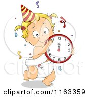 Cartoon Of A Dancing New Year Baby Girl With A Clock And Confetti Royalty Free Vector Clipart by BNP Design Studio