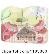 Cartoon Of A Messy Living Room After A Party Royalty Free Vector Clipart