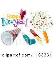 Cartoon Of A Happy New Year Greeting And Party Icons Royalty Free Vector Clipart