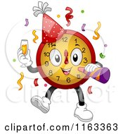 Cartoon Of A New Year Party Clock With Champagne And A Horn Royalty Free Vector Clipart