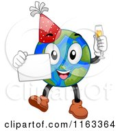 Cartoon Of A New Year Earth Holding A Sign And Champagne Royalty Free Vector Clipart