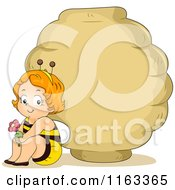 Cartoon Of A Baby Boy In A Bee Costume Sitting By A Hive Sign Royalty Free Vector Clipart