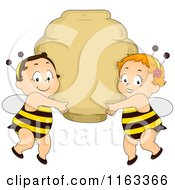 Cartoon Of Cute Babies In Bee Costumes Holding Up A Bee Hive Sign Royalty Free Vector Clipart