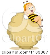 Cartoon Of A Baby Boy In A Bee Costume Relaxing On A Hive Sign Royalty Free Vector Clipart
