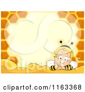 Cartoon Of A Baby Boy In A Bee Costume Inside A Honeycomb Frame With Copyspace Royalty Free Vector Clipart by BNP Design Studio