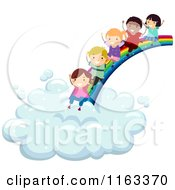 Cartoon Of Happy Diverse Children Sliding From A Rainbow To A Cloud Royalty Free Vector Clipart by BNP Design Studio