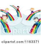 Cartoon Of Happy Diverse Children Sliding Down Rainbows Royalty Free Vector Clipart by BNP Design Studio