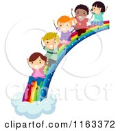 Cartoon Of Happy Diverse Children Sliding Down A Rainbow Royalty Free Vector Clipart by BNP Design Studio