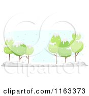 Cartoon Of A Winter Landscape Of Green Trees In The Snow Royalty Free Vector Clipart