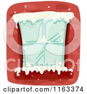 Cartoon Of A Snow Framed Winter Window In A Brick Building Royalty Free Vector Clipart