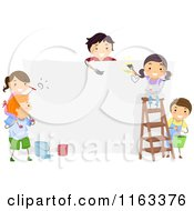 Cartoon Of Happy Children Painting A Large Board Royalty Free Vector Clipart