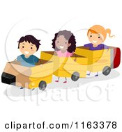 Cartoon Of Happy Diverse Children Playing In A Pencil Train Royalty Free Vector Clipart