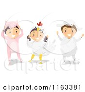 Cartoon Of Happy Children In Pig Chicken And Sheep Farm Animal Costumes Royalty Free Vector Clipart