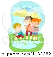Cartoon Of Happy Children Conducting An Experiment In The Rain Royalty Free Vector Clipart