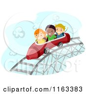 Happy Diverse Children On A Crayon Roller Coaster