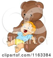 Cartoon Of A Happy Baby Boy Leaning Back Against A Giant Teddy Bear Royalty Free Vector Clipart