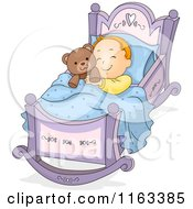 Cartoon Of A Baby Boy Sleeping In A Rocking Cradle With A Teddy Bear Royalty Free Vector Clipart