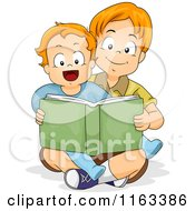 Cartoon Of A Big Brother Reading A Story Book To His Little Brother Royalty Free Vector Clipart