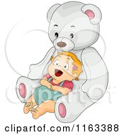 Cartoon Of A Happy Baby Girl Leaning Back Against A Giant Teddy Bear Royalty Free Vector Clipart
