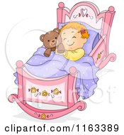 Cartoon Of A Baby Girl Sleeping In A Rocking Cradle With A Teddy Bear Royalty Free Vector Clipart